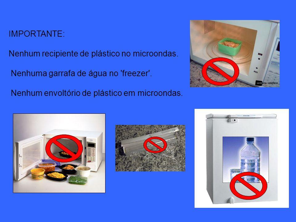 IMPORTANTE: Nenhum recipiente de plástico no microondas.