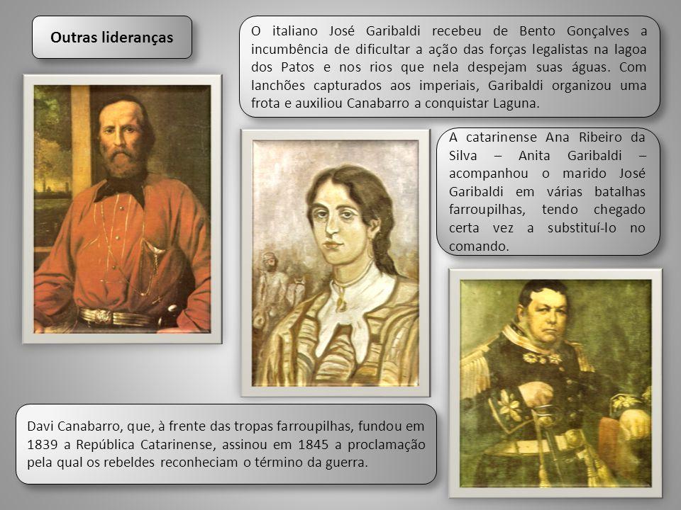 O italiano José Garibaldi recebeu de Bento Gonçalves a incumbência de dificultar a ação das forças legalistas na lagoa dos Patos e nos rios que nela d
