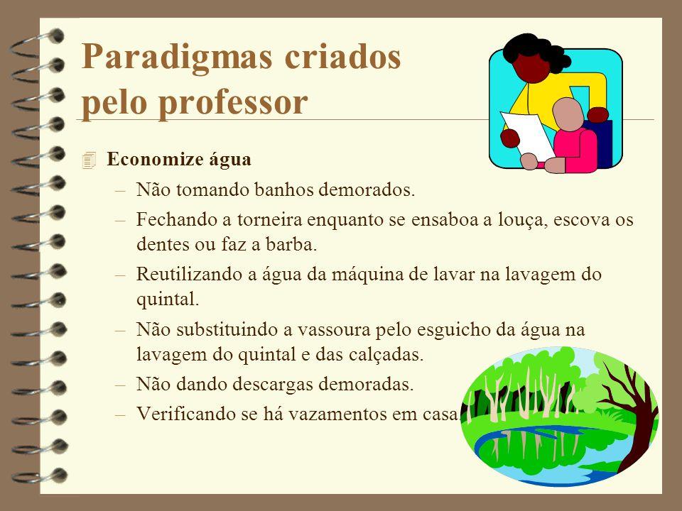 Paradigmas criados pelo professor 4 Economize água –Não tomando banhos demorados.