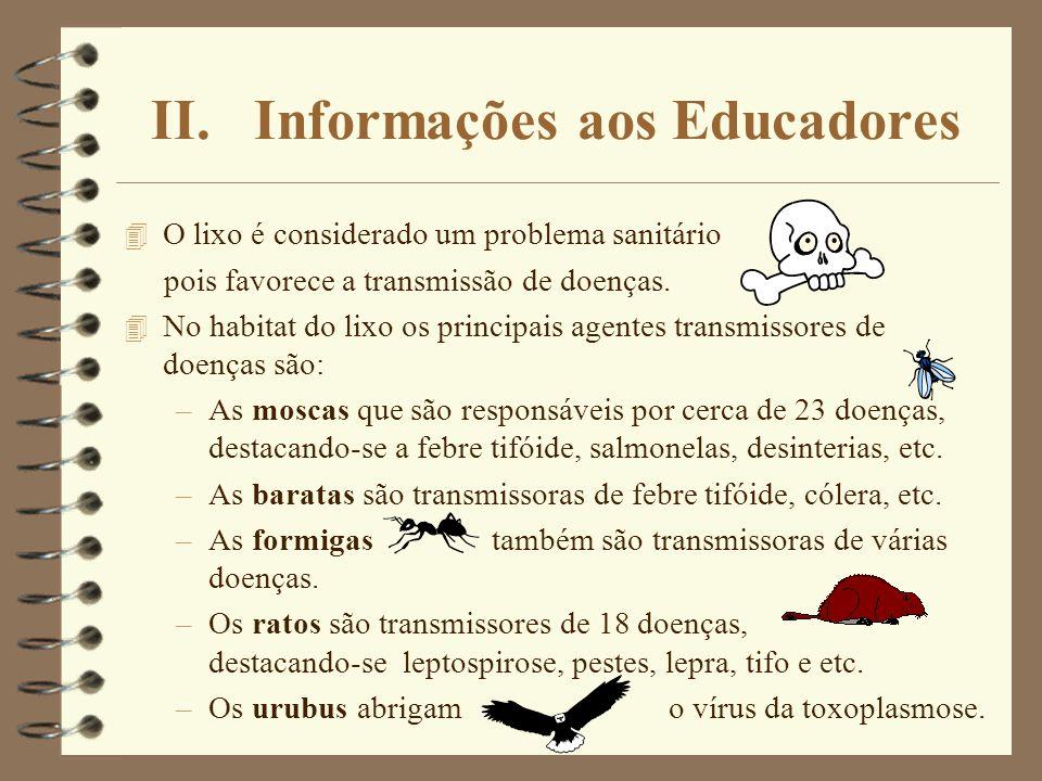 II. Informações aos Educadores 4 O lixo é considerado um problema sanitário pois favorece a transmissão de doenças. 4 No habitat do lixo os principais