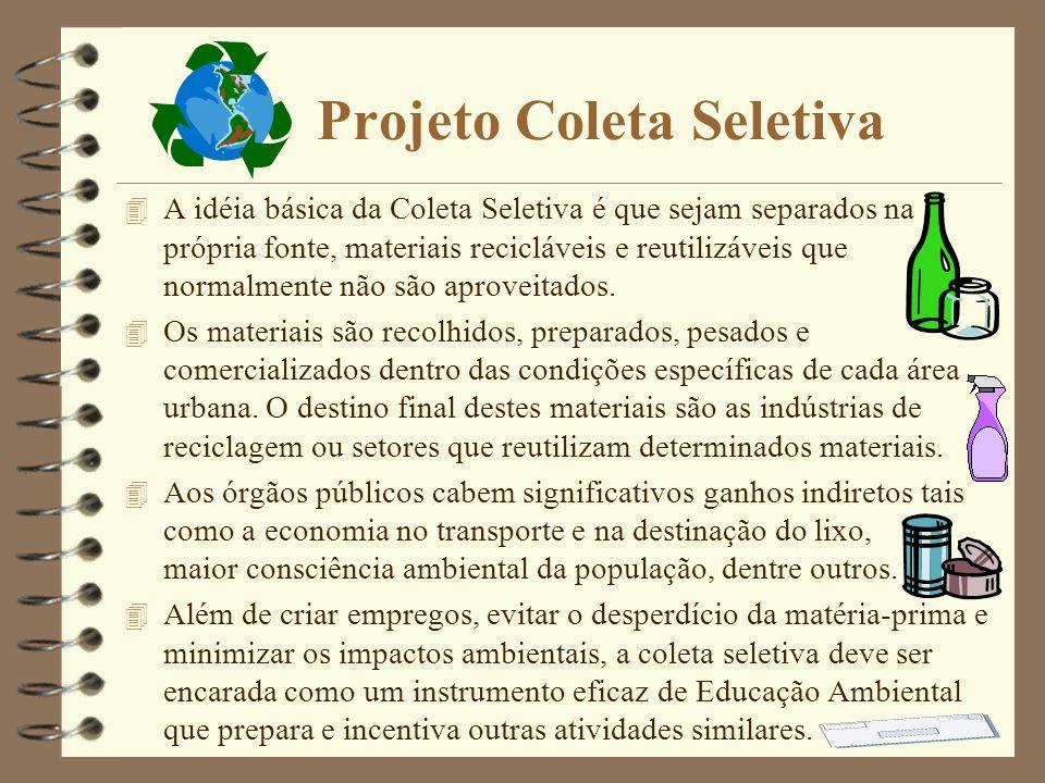 Projeto Coleta Seletiva 4 A idéia básica da Coleta Seletiva é que sejam separados na própria fonte, materiais recicláveis e reutilizáveis que normalmente não são aproveitados.