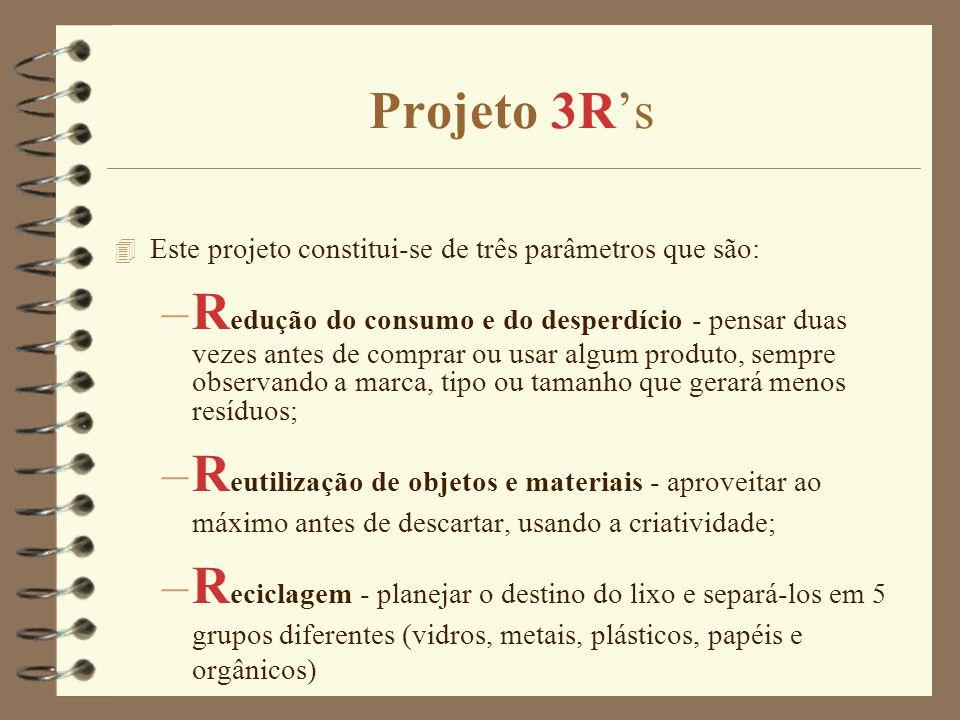 Projeto 3R's 4 Este projeto constitui-se de três parâmetros que são: –R edução do consumo e do desperdício - pensar duas vezes antes de comprar ou usar algum produto, sempre observando a marca, tipo ou tamanho que gerará menos resíduos; –R eutilização de objetos e materiais - aproveitar ao máximo antes de descartar, usando a criatividade; –R eciclagem - planejar o destino do lixo e separá-los em 5 grupos diferentes (vidros, metais, plásticos, papéis e orgânicos)
