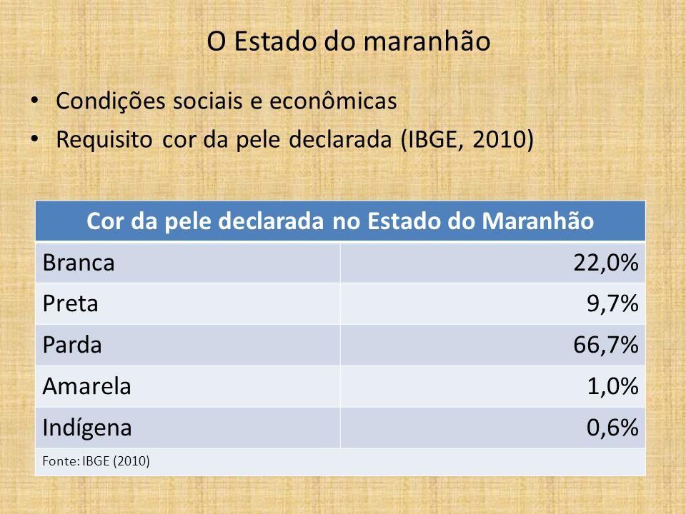 O referente cor na educação superior do maranhão – INGRESSANTES COR DECLARADA BRASILNORDESTEMARANHÃO Branca72,3%44,4%30,8% Preta4,2%11,1%12,8% Parda20,4%41,6%53,5% Amarelos e Indígenas 3,1%2,9% Fonte: ENADE (2006)