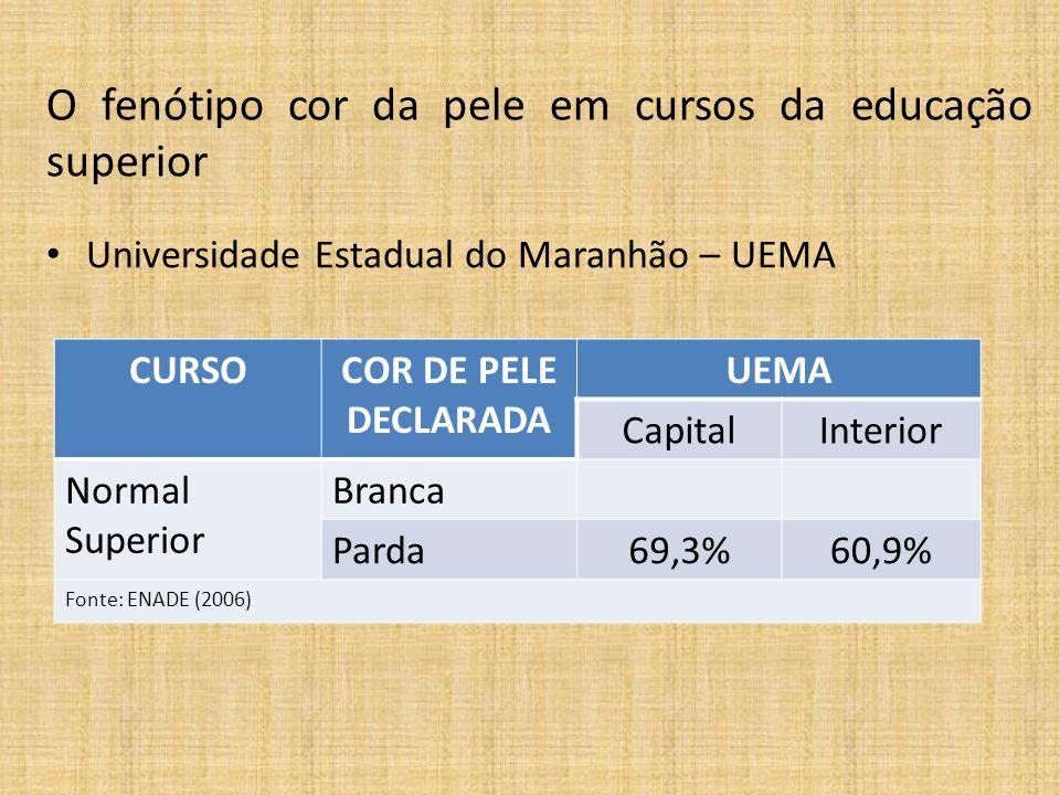 CURSOCOR DE PELE DECLARADA UEMA CapitalInterior Normal Superior Branca Parda69,3%60,9% Fonte: ENADE (2006) O fenótipo cor da pele em cursos da educaçã