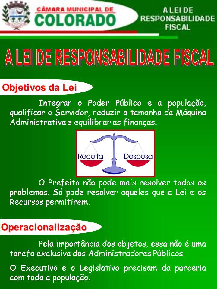 Objetivos da Lei Integrar o Poder Público e a população, qualificar o Servidor, reduzir o tamanho da Máquina Administrativa e equilibrar as finanças.