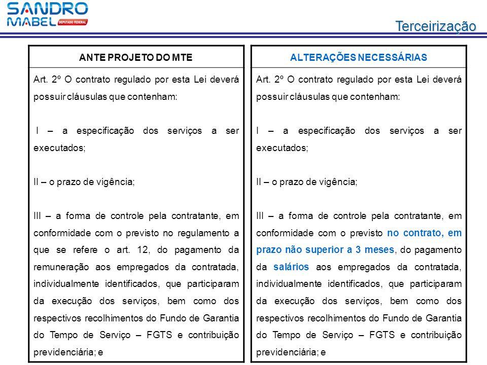Terceirização ANTE PROJETO DO MTE Art. 2º O contrato regulado por esta Lei deverá possuir cláusulas que contenham: I – a especificação dos serviços a