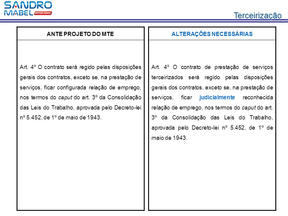Terceirização ANTE PROJETO DO MTE Art. 4º O contrato será regido pelas disposições gerais dos contratos, exceto se, na prestação de serviços, ficar co