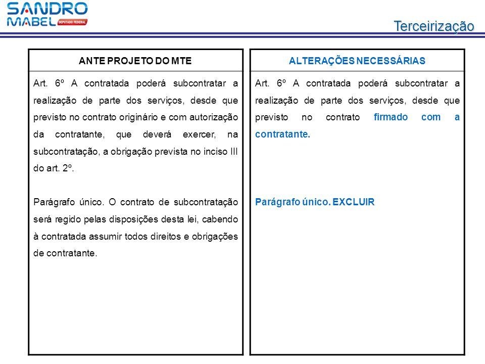 Terceirização ANTE PROJETO DO MTE Art. 6º A contratada poderá subcontratar a realização de parte dos serviços, desde que previsto no contrato originár