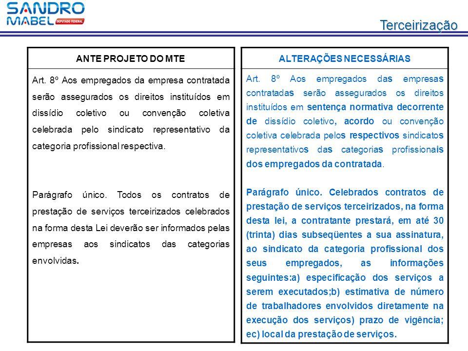 Terceirização ANTE PROJETO DO MTE Art. 8º Aos empregados da empresa contratada serão assegurados os direitos instituídos em dissídio coletivo ou conve