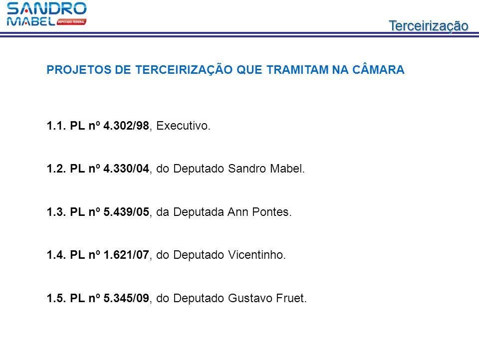 TerceirizaçãoTerceirização 1.1. PL nº 4.302/98, Executivo. 1.2. PL nº 4.330/04, do Deputado Sandro Mabel. 1.3. PL nº 5.439/05, da Deputada Ann Pontes.