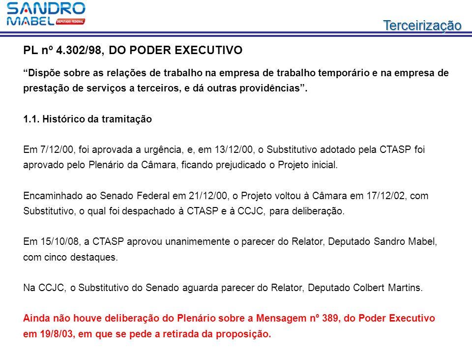 """TerceirizaçãoTerceirização PL nº 4.302/98, DO PODER EXECUTIVO """"Dispõe sobre as relações de trabalho na empresa de trabalho temporário e na empresa de"""