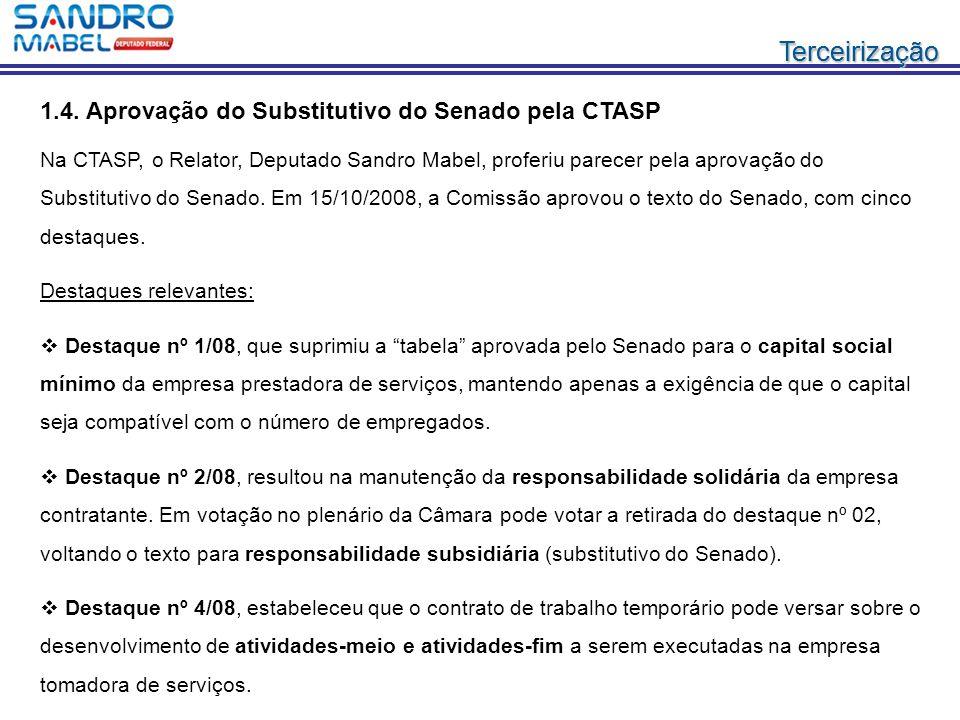 TerceirizaçãoTerceirização 1.4. Aprovação do Substitutivo do Senado pela CTASP Na CTASP, o Relator, Deputado Sandro Mabel, proferiu parecer pela aprov