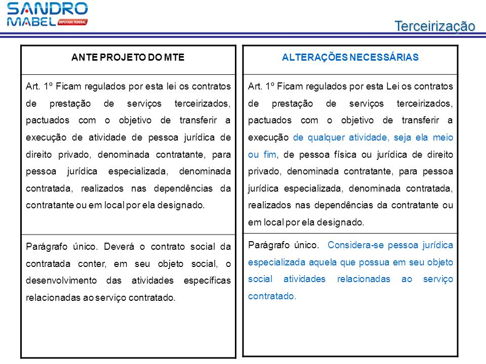 Terceirização ANTE PROJETO DO MTE Art. 1º Ficam regulados por esta lei os contratos de prestação de serviços terceirizados, pactuados com o objetivo d