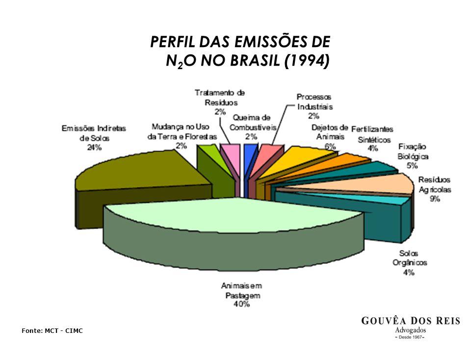 Fonte: MCT - CIMC PERFIL DAS EMISSÕES DE N 2 O NO BRASIL (1994)
