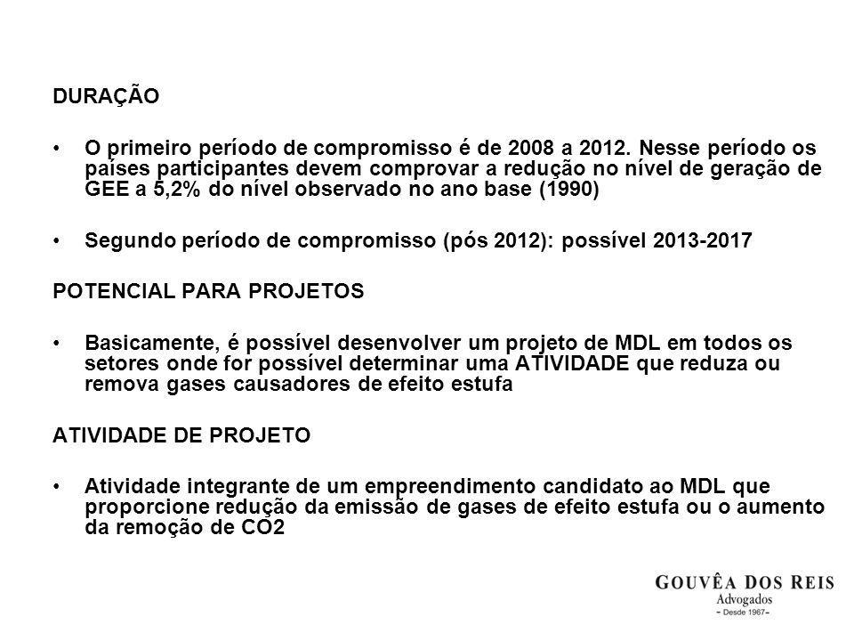 DURAÇÃO •O primeiro período de compromisso é de 2008 a 2012. Nesse período os países participantes devem comprovar a redução no nível de geração de GE