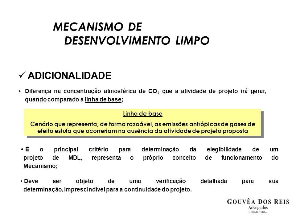 MECANISMO DE DESENVOLVIMENTO LIMPO  ADICIONALIDADE •Diferença na concentração atmosférica de CO 2 que a atividade de projeto irá gerar, quando compar
