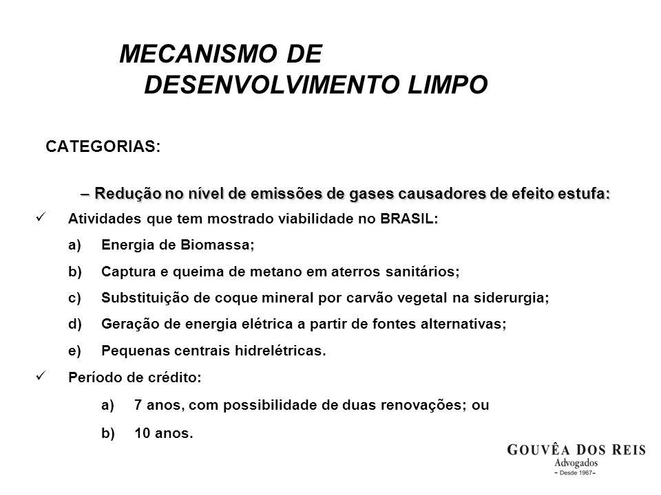 MECANISMO DE DESENVOLVIMENTO LIMPO CATEGORIAS: –Redução no nível de emissões de gases causadores de efeito estufa:  Atividades que tem mostrado viabi