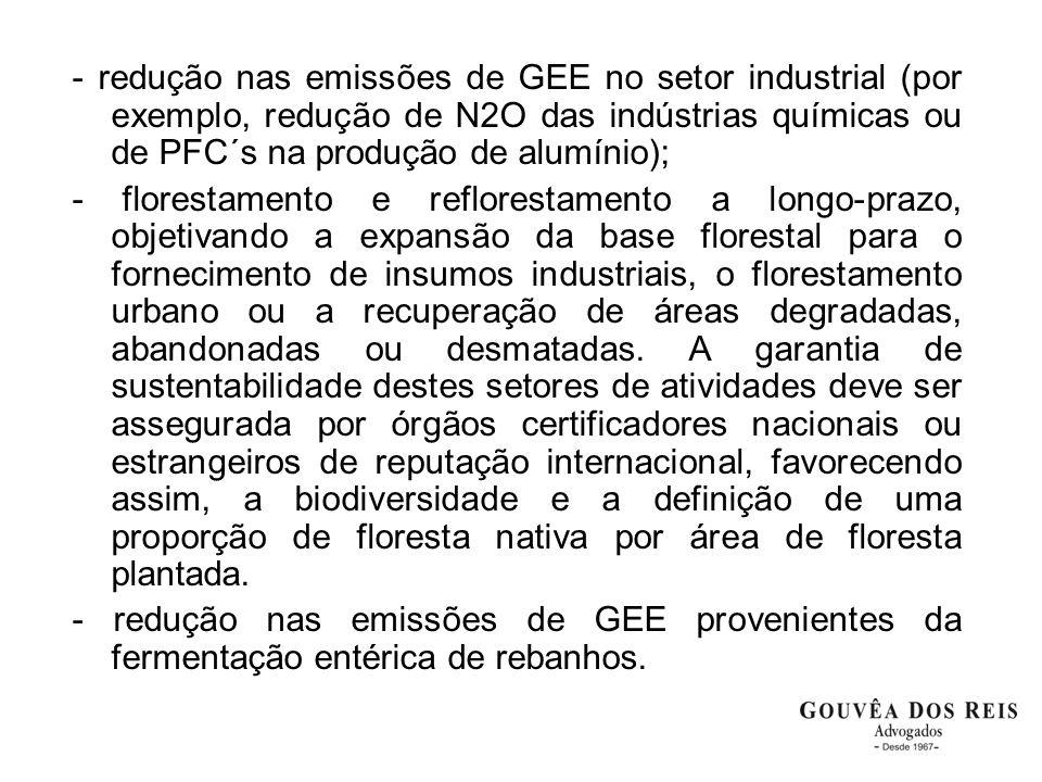 - redução nas emissões de GEE no setor industrial (por exemplo, redução de N2O das indústrias químicas ou de PFC´s na produção de alumínio); - florest