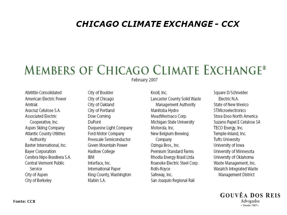 CHICAGO CLIMATE EXCHANGE - CCX Fonte: CCX