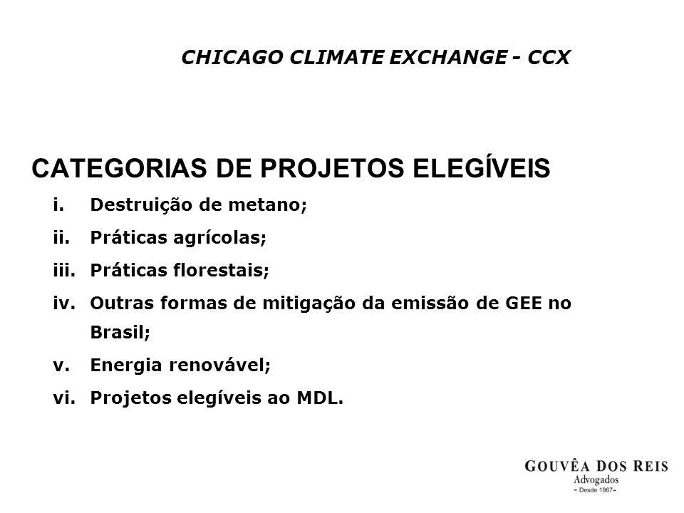 CHICAGO CLIMATE EXCHANGE - CCX CATEGORIAS DE PROJETOS ELEGÍVEIS i.Destruição de metano; ii.Práticas agrícolas; iii.Práticas florestais; iv.Outras form