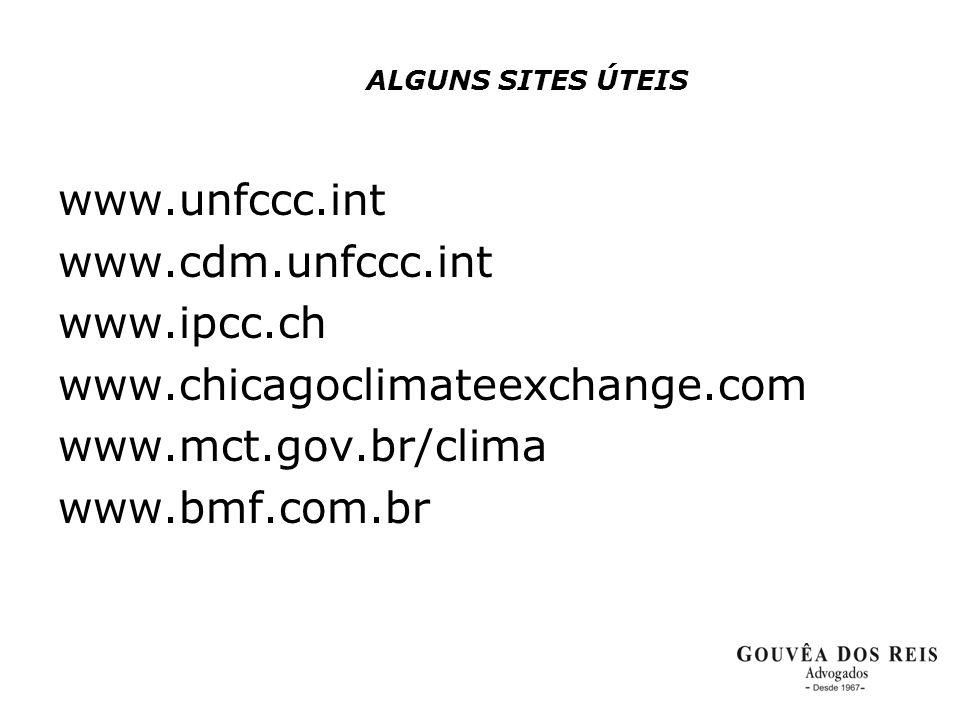 ALGUNS SITES ÚTEIS www.unfccc.int www.cdm.unfccc.int www.ipcc.ch www.chicagoclimateexchange.com www.mct.gov.br/clima www.bmf.com.br