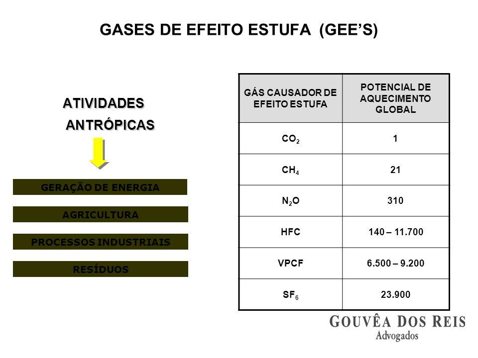 ATIVIDADES ANTRÓPICAS ATIVIDADES ANTRÓPICAS GERAÇÃO DE ENERGIA PROCESSOS INDUSTRIAIS AGRICULTURA RESÍDUOS GÁS CAUSADOR DE EFEITO ESTUFA POTENCIAL DE A