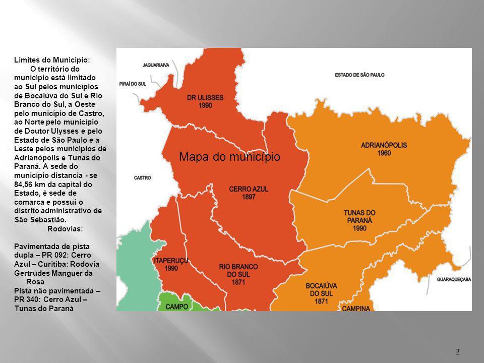 1 Localização de Cerro Azul – no Paraná Região administrativa: Área 2 - Área Metropolitana de Curitiba Área territorial: 1.341,323 Km² (Fonte: SEMA -