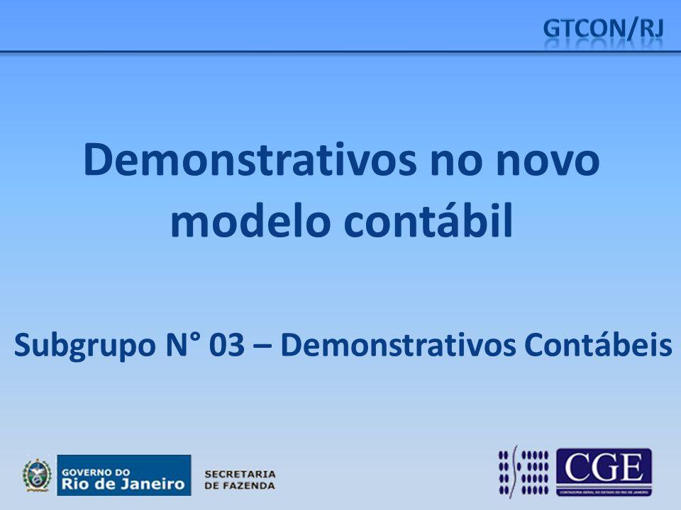 Demonstrativos no novo modelo contábil Subgrupo N° 03 – Demonstrativos Contábeis