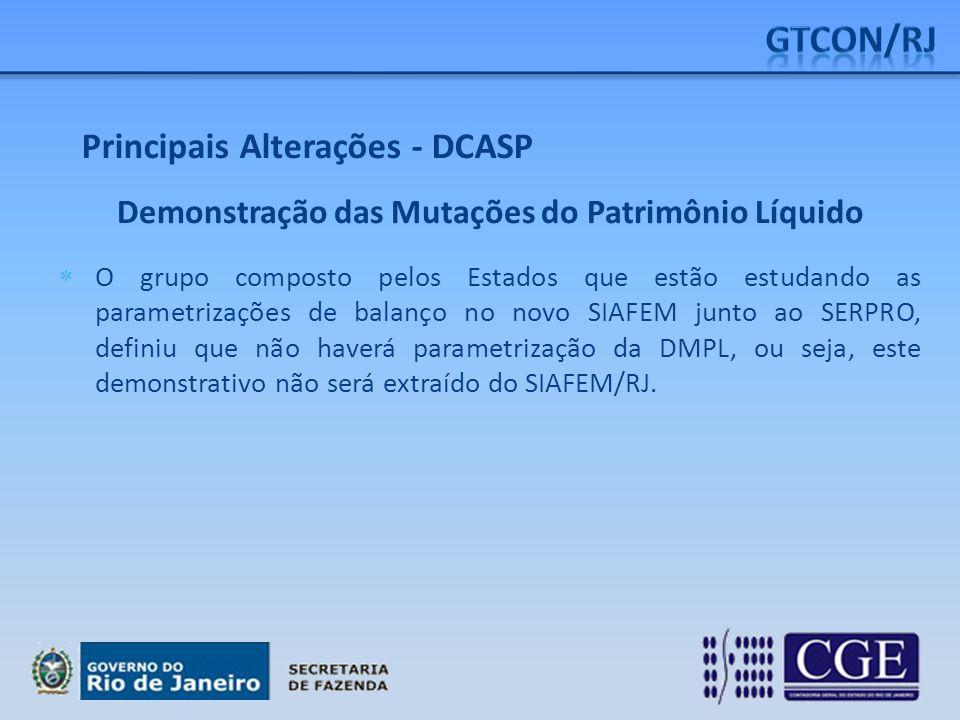 Principais Alterações - DCASP Demonstração das Mutações do Patrimônio Líquido  O grupo composto pelos Estados que estão estudando as parametrizações