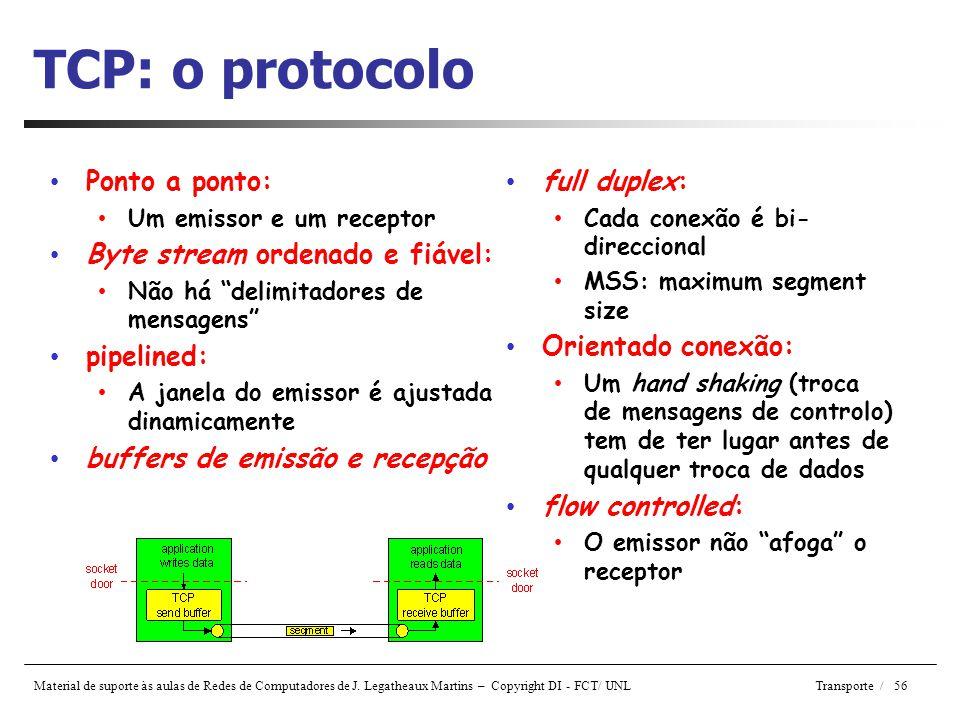 Material de suporte às aulas de Redes de Computadores de J. Legatheaux Martins – Copyright DI - FCT/ UNL Transporte / 56 TCP: o protocolo • full duple