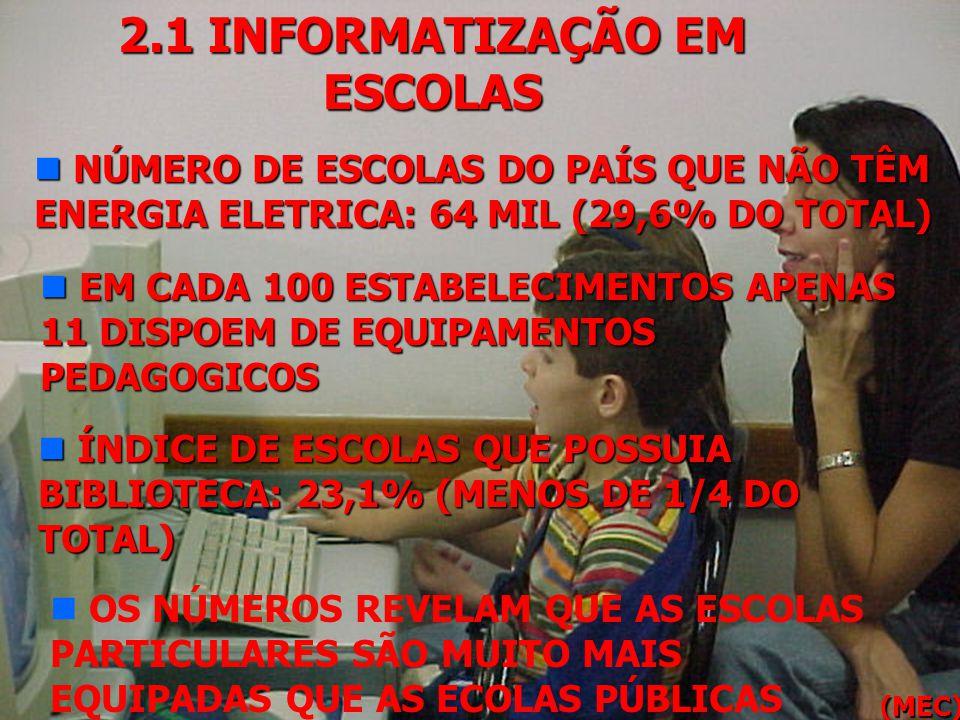 2.1 INFORMATIZAÇÃO EM ESCOLAS n A MAIORIA DAS ESCOLAS BRASILEIRAS NÃO ESTÁ AINDA CONECTADA À INTERNET n EM 1999, APENAS 7.695 ESCOLAS POSSUIAM ACESSO