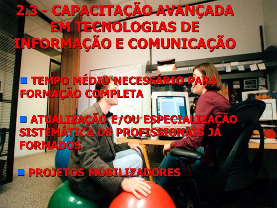2.3 - CAPACITAÇÃO AVANÇADA EM TECNOLOGIAS DE INFORMAÇÃO E COMUNICAÇÃO n NÚMERO DE PESQUISADORES NO PAÍS: 52.000 (CNPq) n NÚMERO DE PESQUISADORES QUE A