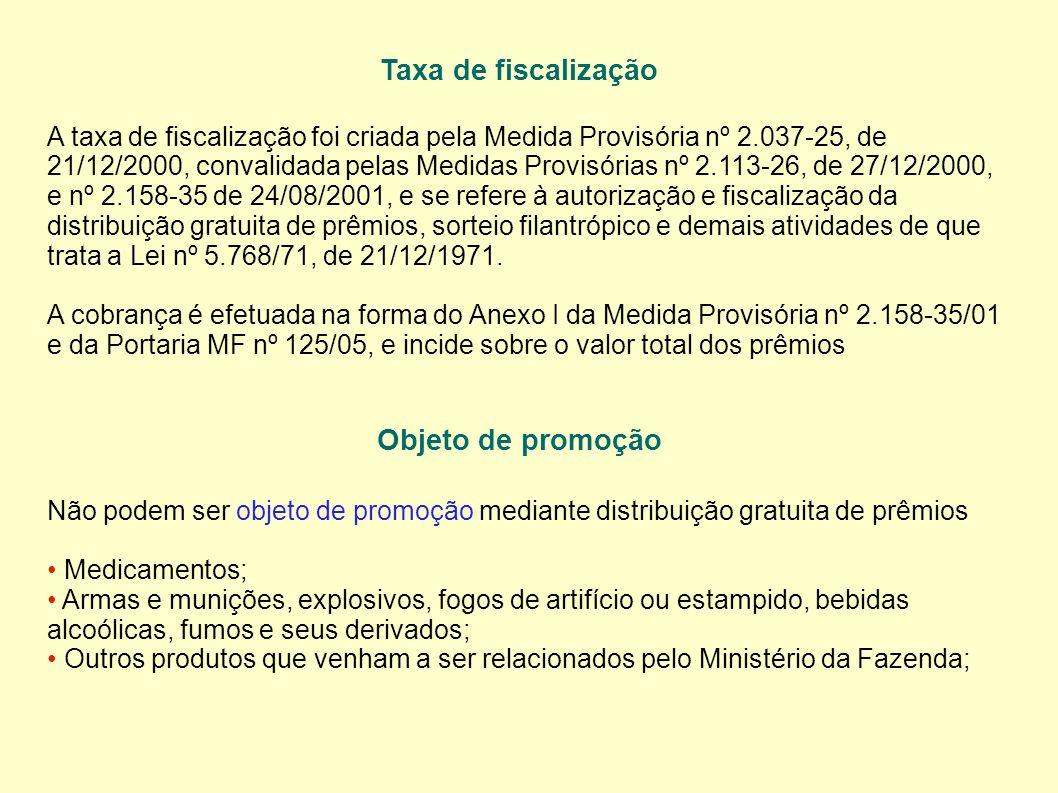 Taxa de fiscalização A taxa de fiscalização foi criada pela Medida Provisória nº 2.037-25, de 21/12/2000, convalidada pelas Medidas Provisórias nº 2.113-26, de 27/12/2000, e nº 2.158-35 de 24/08/2001, e se refere à autorização e fiscalização da distribuição gratuita de prêmios, sorteio filantrópico e demais atividades de que trata a Lei nº 5.768/71, de 21/12/1971.