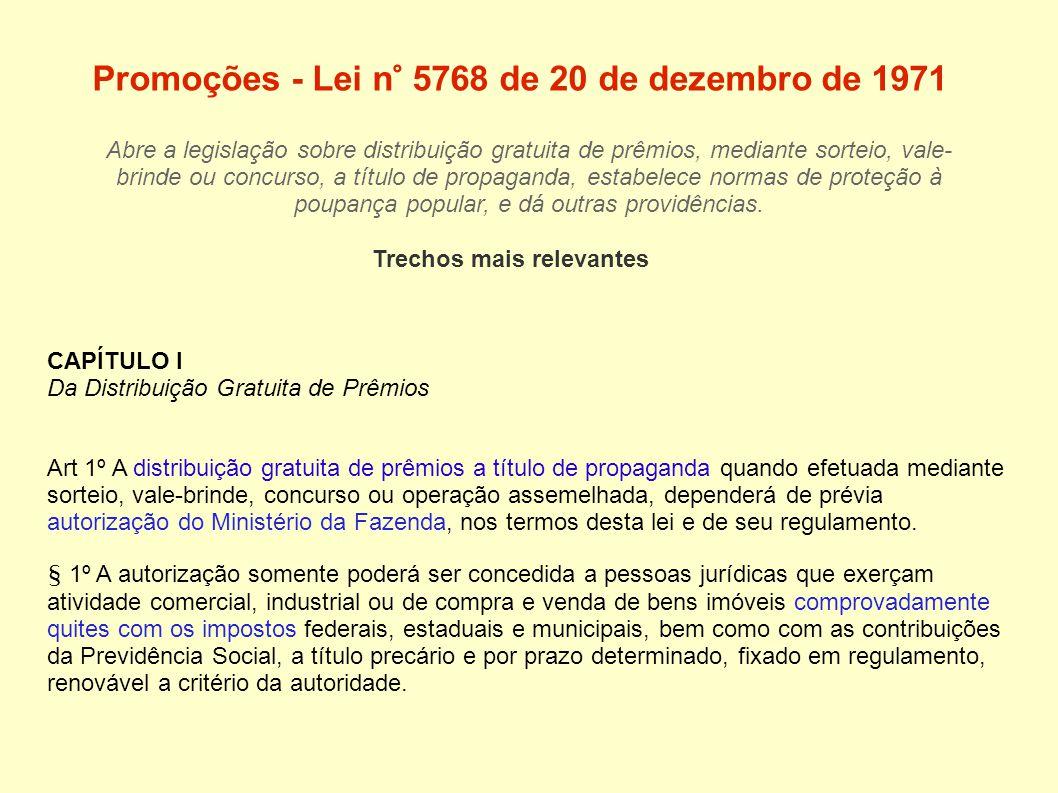Promoções - Lei n° 5768 de 20 de dezembro de 1971 Abre a legislação sobre distribuição gratuita de prêmios, mediante sorteio, vale- brinde ou concurso, a título de propaganda, estabelece normas de proteção à poupança popular, e dá outras providências.