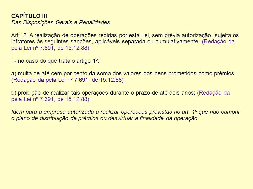 CAPÍTULO III Das Disposições Gerais e Penalidades Art 12.