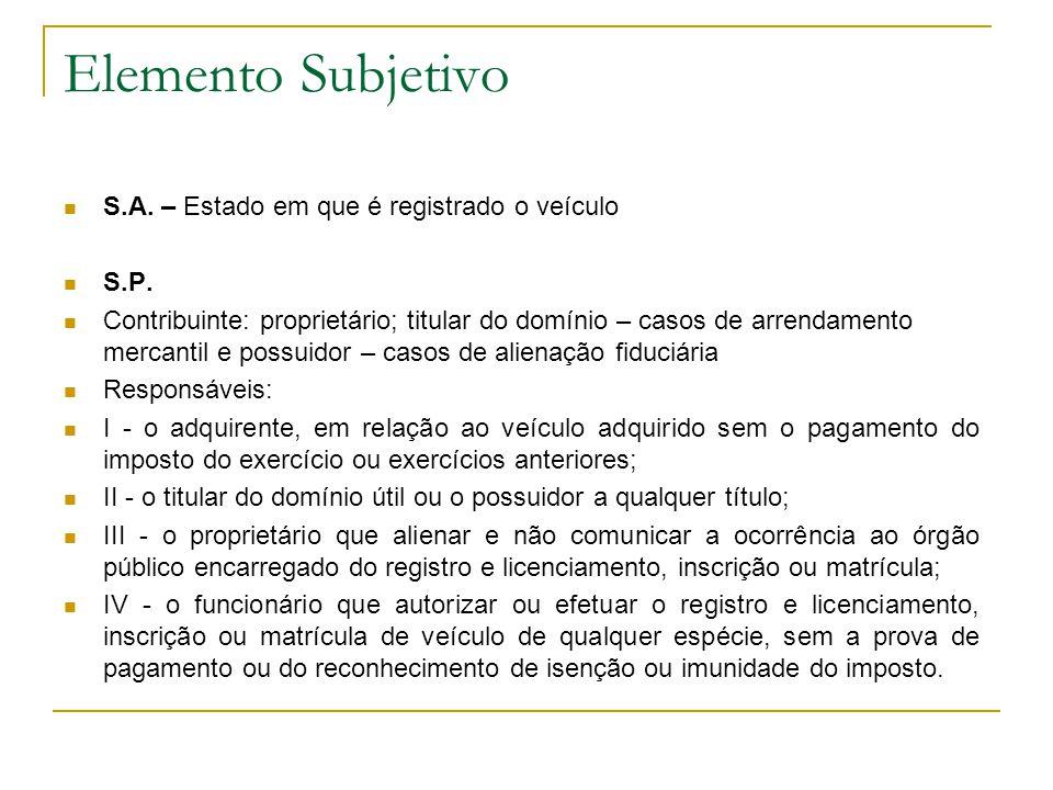 Elemento Subjetivo  S.A.– Estado em que é registrado o veículo  S.P.