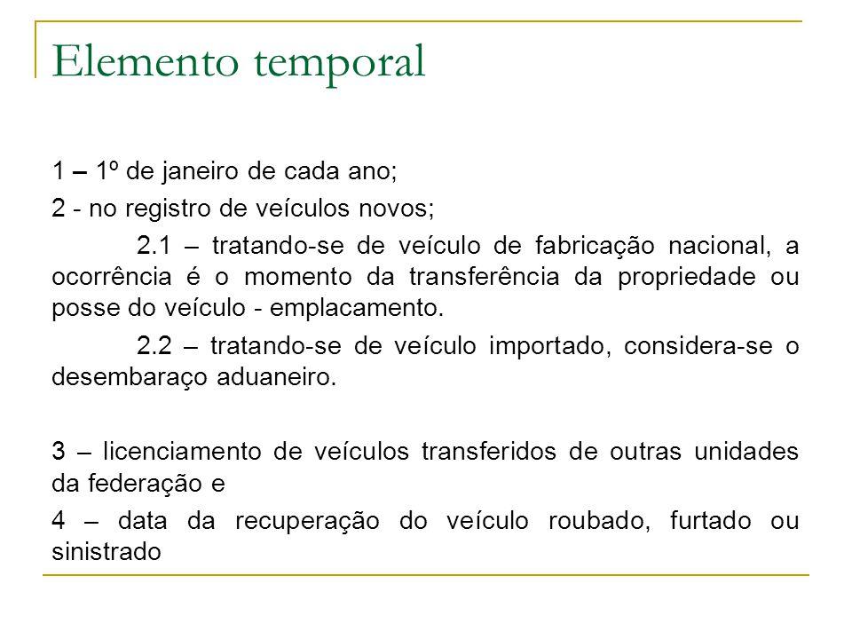 Elemento temporal 1 – 1º de janeiro de cada ano; 2 - no registro de veículos novos; 2.1 – tratando-se de veículo de fabricação nacional, a ocorrência é o momento da transferência da propriedade ou posse do veículo - emplacamento.