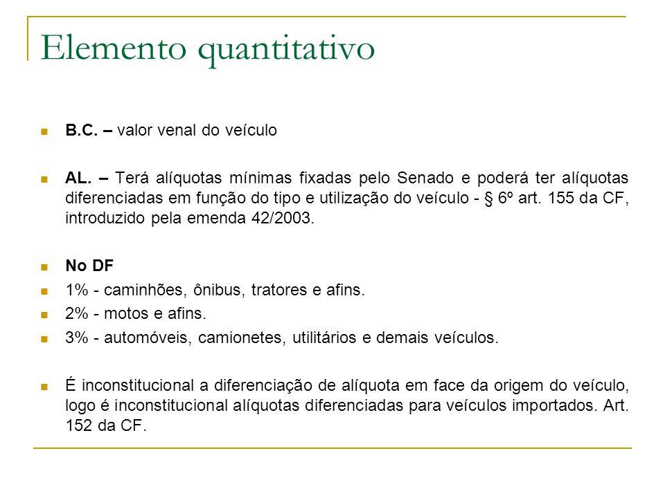 Elemento quantitativo  B.C.– valor venal do veículo  AL.