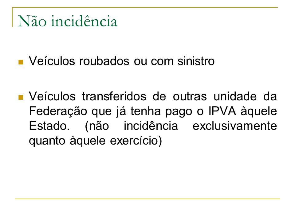 Não incidência  Veículos roubados ou com sinistro  Veículos transferidos de outras unidade da Federação que já tenha pago o IPVA àquele Estado.