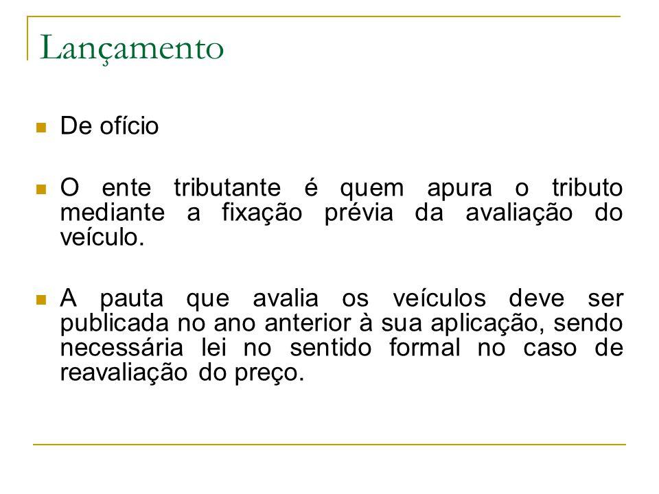 Lançamento  De ofício  O ente tributante é quem apura o tributo mediante a fixação prévia da avaliação do veículo.
