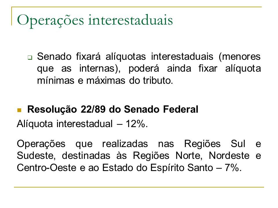 Operações interestaduais  Senado fixará alíquotas interestaduais (menores que as internas), poderá ainda fixar alíquota mínimas e máximas do tributo.