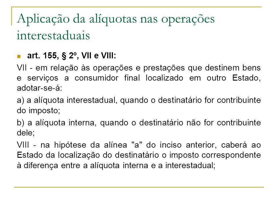 Aplicação da alíquotas nas operações interestaduais  art.