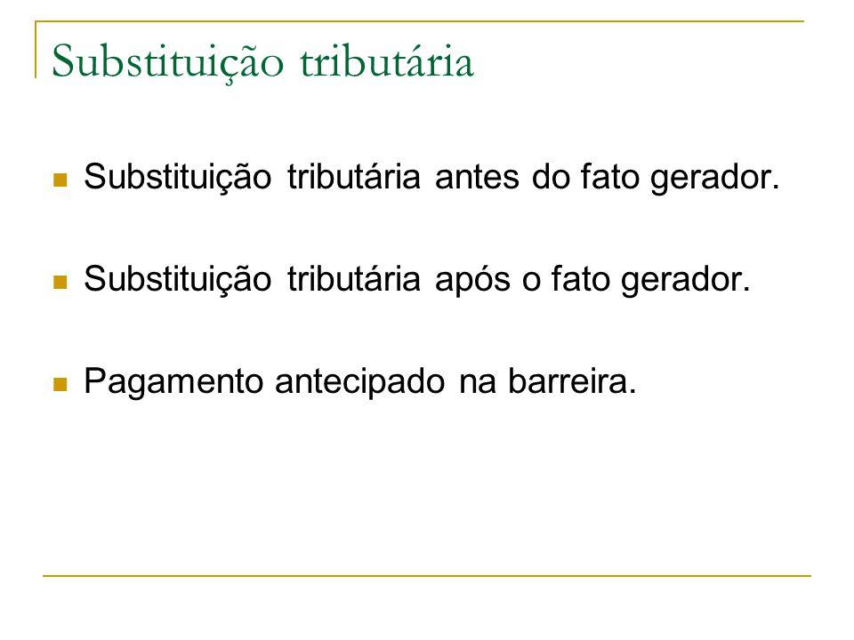 Substituição tributária  Substituição tributária antes do fato gerador.