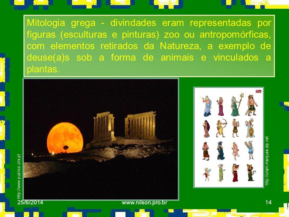 14 http://uliani.marques.zip.net http://www.publico.clix.pt Mitologia grega - divindades eram representadas por figuras (esculturas e pinturas) zoo ou
