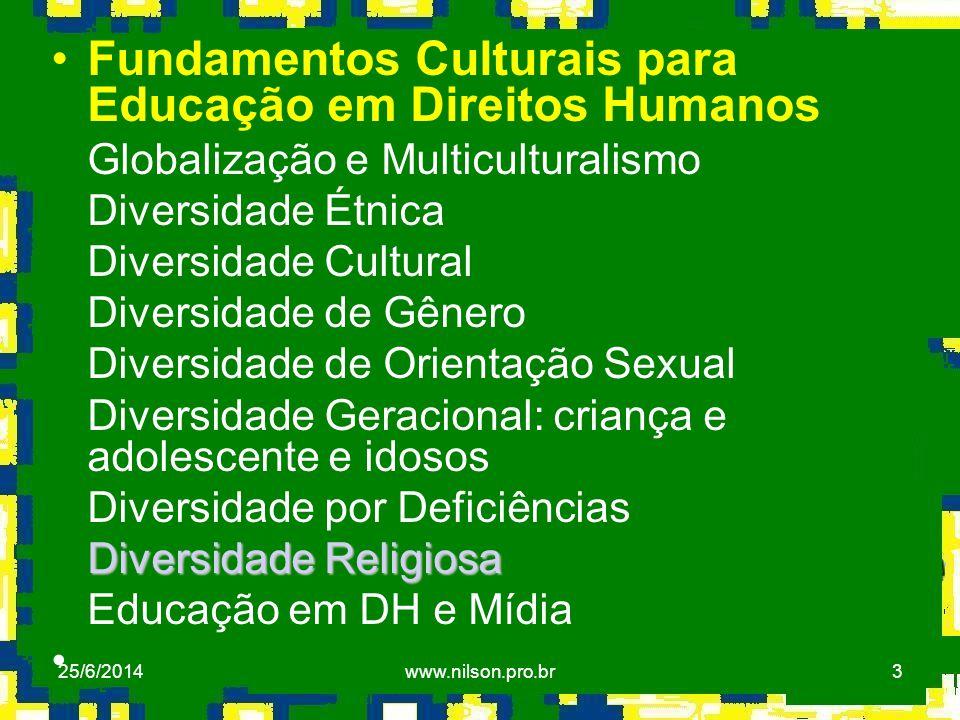 3 •Fundamentos Culturais para Educação em Direitos Humanos Globalização e Multiculturalismo Diversidade Étnica Diversidade Cultural Diversidade de Gên