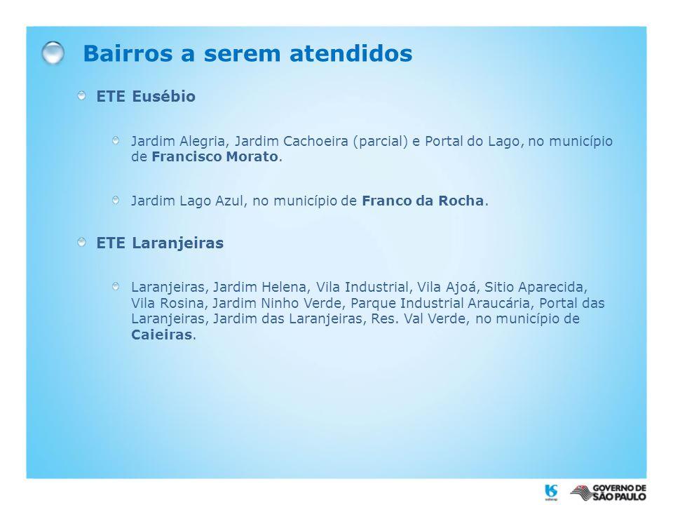 Bairros a serem atendidos ETE Eusébio Jardim Alegria, Jardim Cachoeira (parcial) e Portal do Lago, no município de Francisco Morato. Jardim Lago Azul,