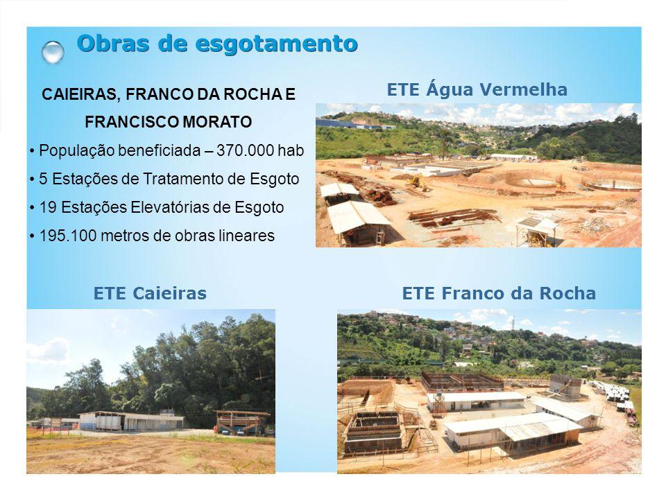 Obras de esgotamento ETE Água Vermelha ETE Franco da Rocha ETE Caieiras CAIEIRAS, FRANCO DA ROCHA E FRANCISCO MORATO • População beneficiada – 370.000