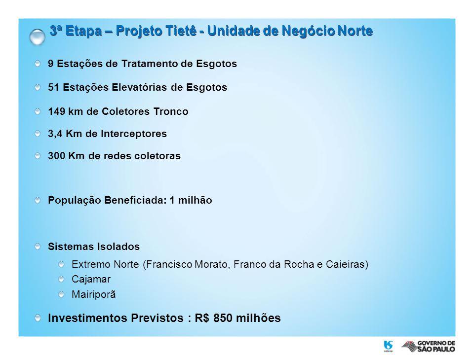 3ª Etapa – Projeto Tietê - Unidade de Negócio Norte 9 Estações de Tratamento de Esgotos 51 Estações Elevatórias de Esgotos 149 km de Coletores Tronco