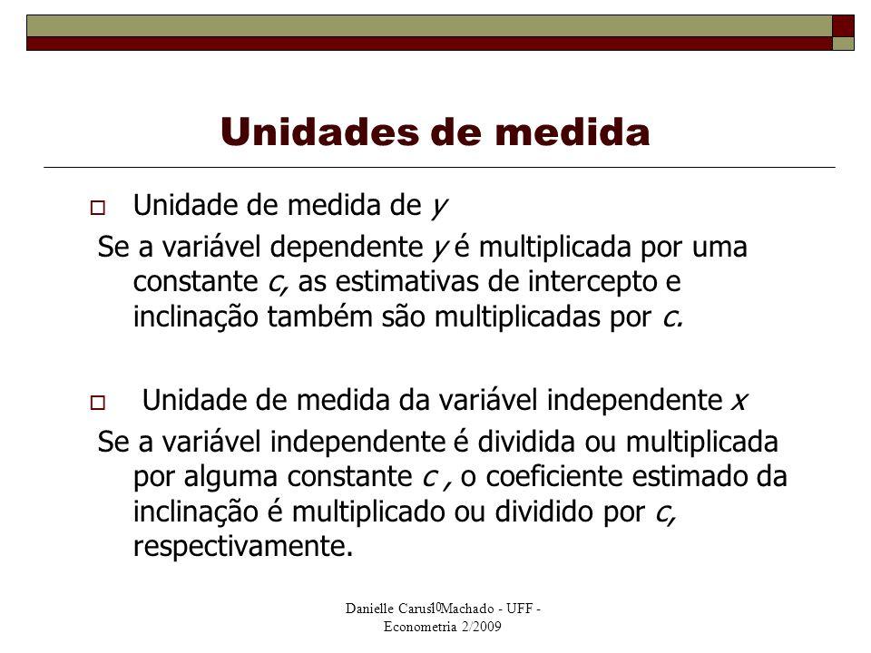 Danielle Carusi Machado - UFF - Econometria 2/2009 10 Unidades de medida  Unidade de medida de y Se a variável dependente y é multiplicada por uma co