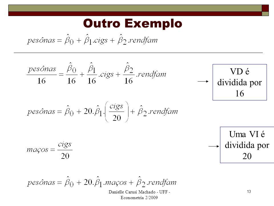 Danielle Carusi Machado - UFF - Econometria 2/2009 13 Outro Exemplo VD é dividida por 16 Uma VI é dividida por 20